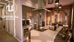 Unreal Engine 4 - Реалистичный Рендер Кухни-Гостиной